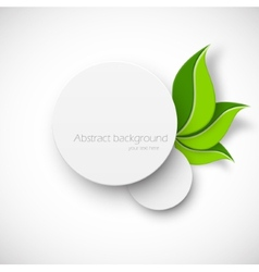 Paper white circle with leaves vector image
