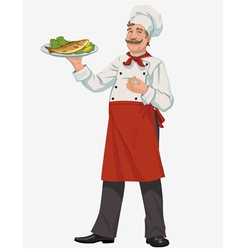 Chef with cooked fish vector