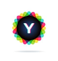 Retro bright colors logotype letter y vector