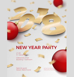 3d realistic new year invitation 2018 vector