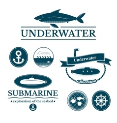 Set of labels and badges underwater vector