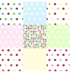 Seamless patterns - polka dots set vector