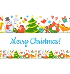 Christmas symbols background horizontal seamless vector