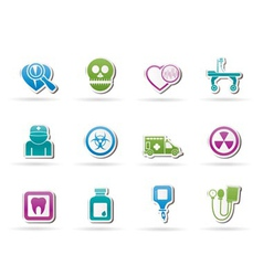 Medicine and hospital equipment icons vector