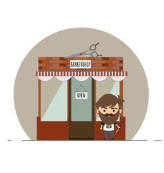 Stylish barber standing on the street vector