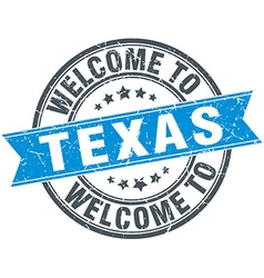 Welcome to texas blue round vintage stamp vector