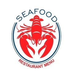 Giant red lobster icon in blue oval frame vector