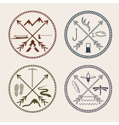 Adventure vintage grunge labels with rope and vector