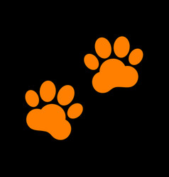 animal tracks sign orange icon on black vector image