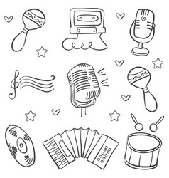 Art music object various doodles vector