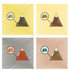 Assembly flat shading style icon tent tourists vector