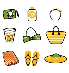 Beautiful summer icons vector