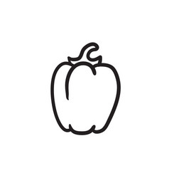 Bell pepper sketch icon vector