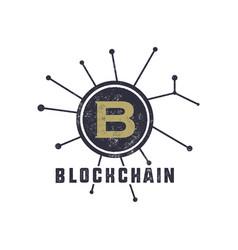 Blockchain emblem concept digital assets logo vector