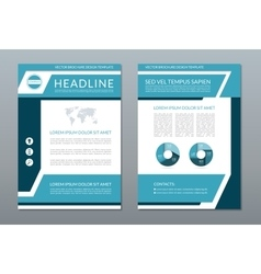 Blue brochure flyer layout template A4 size vector image vector image