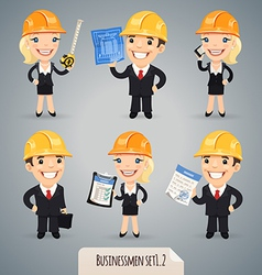Businessmen in helmet set1 2 vector