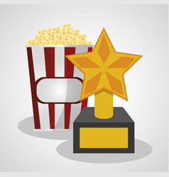 Cinema pop corn and trophy winner vector