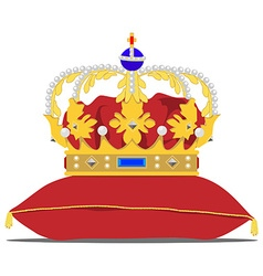 Crown on pillow vector image vector image