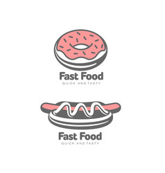 donut with glaze icing hot dog isolated vector image vector image