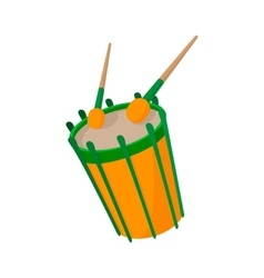 Drum and drumsticks icon cartoon style vector image