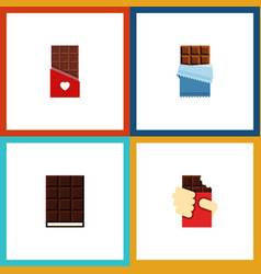 Flat icon bitter set of chocolate shaped box vector