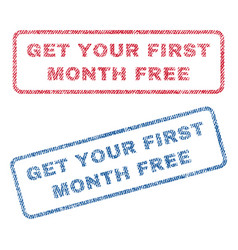 Get your first month free textile stamps vector