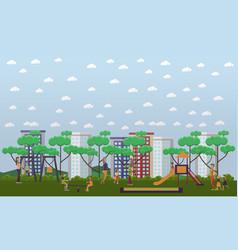 Kindergarten playground in vector