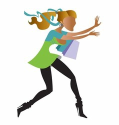 Running girl shopping vector