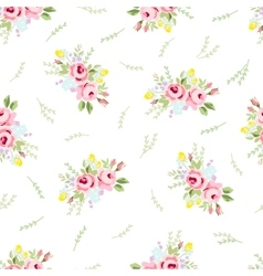 Seamless floral pattern with little red roses vector image vector image