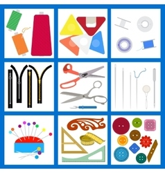 Set of flat sewing isolated elements vector image vector image