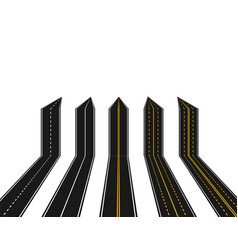 Set of roads with white and yellow marking in vector