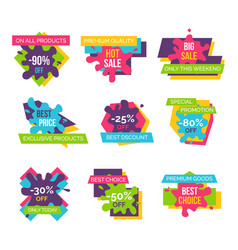 set price labels total sale on all products icons vector image vector image