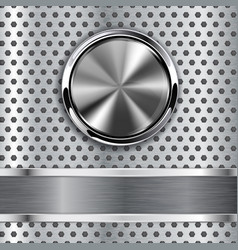 steel round button on metal background web icon vector image