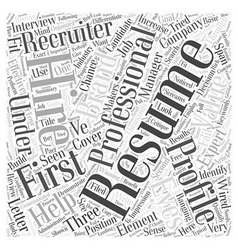 The three elements in a winning resume word cloud vector