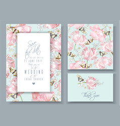 tulip butterfly invitation cards set vector image vector image