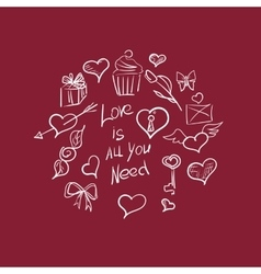 Valentines day ornate background hand-drawn vector image vector image