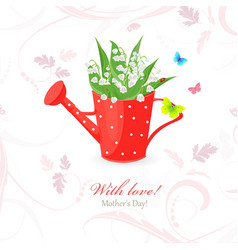 Vintage red can watering with lily of the valley vector
