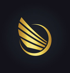 Wing fly abstract gold logo vector
