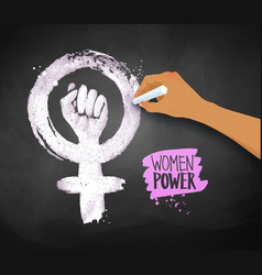 Womens hand drawing feminism protest symbol vector