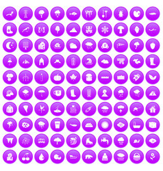 100 clouds icons set purple vector