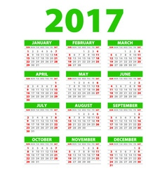 2017 calendar or desk planner 12 month set green vector