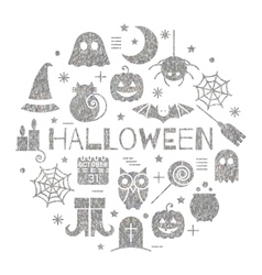 Halloween silver icons set in circle shape vector