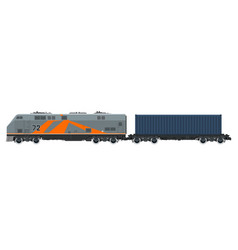 Locomotive with cargo container isolated vector