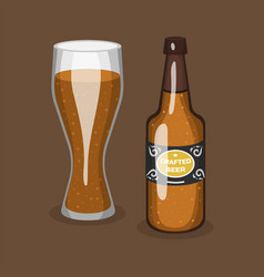 Alcohol beer transparent glass and bottle vector