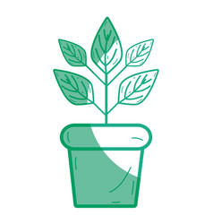 Silhouette plant inside flowerpot to ecology vector