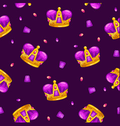 Seamless pattern with cartoon golden king crowns vector