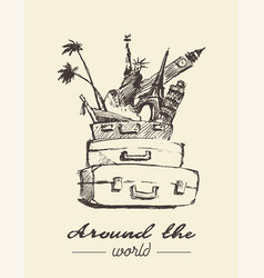 traveling around world concept drawn vector image
