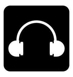 Headphones symbol button vector