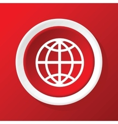 Globe icon on red vector