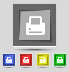 Printing icon sign on the original five colored vector